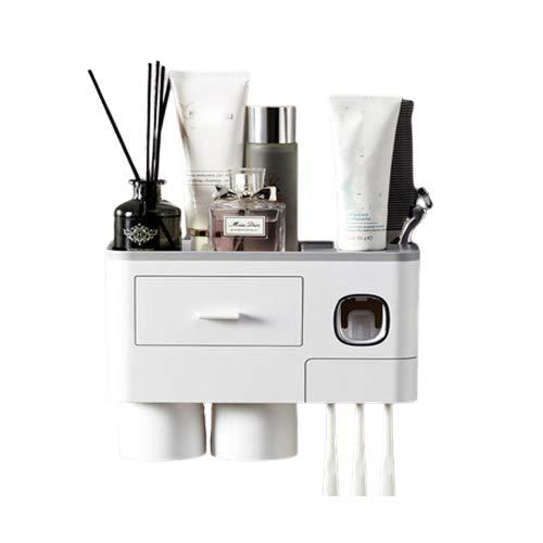 Soporte para cepillo de dientes, soporte para cepillo de dientes montado en la pared para baño, soporte para pasta de dientes montado en la pared para baño, dispensador automático de pasta de dientes