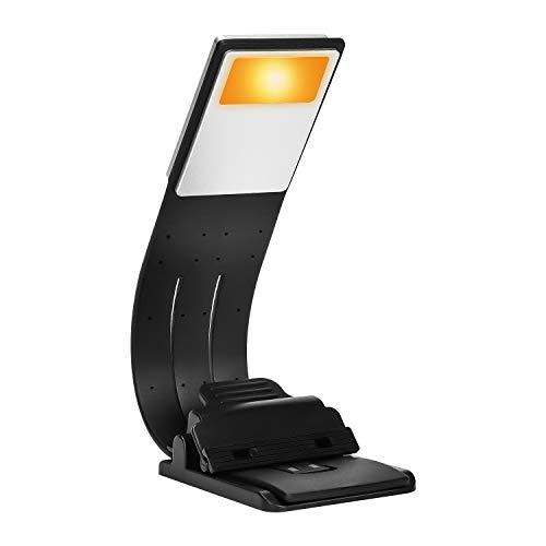 Libro luz LED lampara de lectura recargable,LUXJET® Clip Luz de lectura con brillo ajustable,E-reader Noche Lampara de Lectura Marca de Libro con Brazo Flexible (ámbar)
