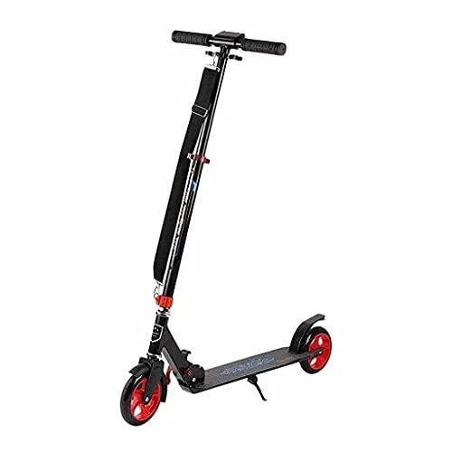 wunderschönen Faltbare Roller Räder Roller Stunt Roller mit Schultergurt Tragbarer Roller Geburtstagsgeschenk (Farbe: Schwarz + rote Räder) (Color : Black+Red Wheels)