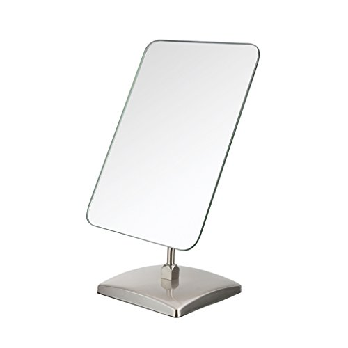 JUEJIDP Espejo de maquillaje de un solo lado cuadrado de color de acero inoxidable espejo de sobremesa de escritorio espejo de vestir de boda de princesa Accesorios de casa