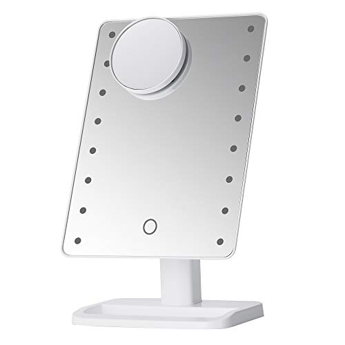 Hi-ERA Makeup Mirror with Lights and Magnification, Large Lighted Vanity Mirror with 16 LED and 10x Removable Magnifying Mirror, Touch Sensor Control and Memory Function, White, 2021 Upgraded Version