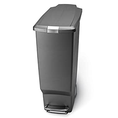 simplehuman 40 Liter / 10.6 Gallon Slim Kitchen Step Trash Can, Grey Plastic With Secure Slide Lock