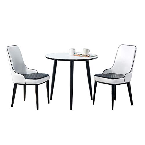 Combination chair Kitchen Dining Chairs,Reception Small Round Table Lounge Office Negotiation Tables and Leather Chairs Combination (Color : Black legs, Size : 3 piece set)