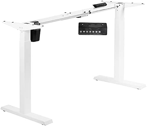 VIVO Compact Electric Stand Up Desk Frame for 34 to 71 inch Table Tops, Single Motor Ergonomic Standing Height Adjustable Base with Memory Controller, White, DESK-E151EW