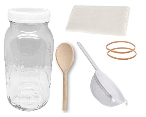Jarming Collections Complete Kefir Starter Kit/Kombucha Fermentor Kit-1 Mason Jar Wide Mouth-Plastic Storage Lid - HIC(4 Inch) Nylon Mesh Strainer-Cotton Cloth Cover and Wood Spoon (Half Gallon)