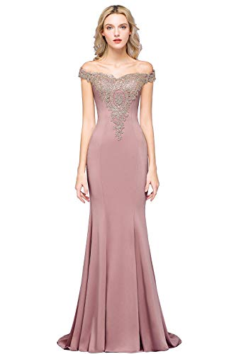 Long Mermaid Evening Gowns Off Shoulder Gold Wedding Bridesmaid Dress,Dusty Pink 8