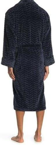 New With Tags Men's Daniel Buchler L/XL Navy Textured Chevron Waist Tie Robe