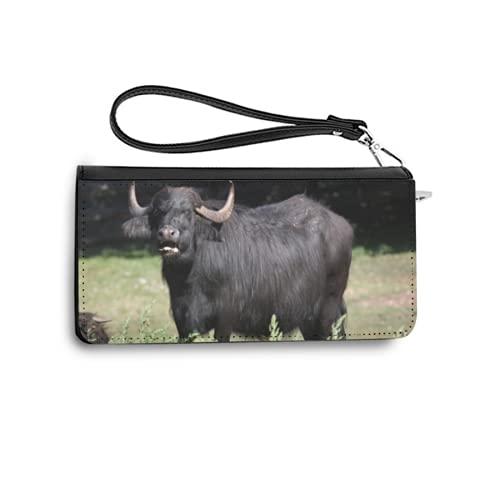 Carteras de Mujer Monedero Largo de Cuero Asian Water Buffalo bubalus bubalis Wild Life animalPU de Moda Cartera con Tarjetero para Mujer Organizar One Size