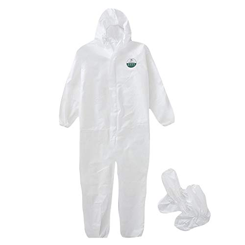 Poilweap Disposable Protective Coverall with Boot& Hood, Isolation Gown Full Body Protective, Disposable Isolation Suit Protective Workwear