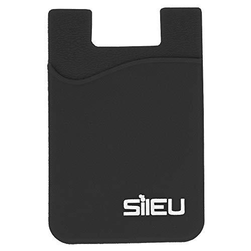 Bolsillo de Silicona Multiusos Portatarjetas con Adhesivo 3M para Movil y Cartera - Compatible con Todos los Modelos de Smartphone e iPhone - Color Negro