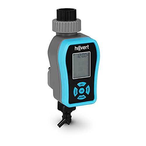 Hillvert Programador de Riego Controlador para Jardín HT-IRI-06 (Tiempo de riego: 1 min - 4 h, Presión de Trabajo: 0,5-8 Bar, Conexión para Sensor de Lluvia)