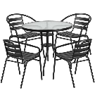 31.5-inch Round Glass Metal Table with 4 Metal Aluminum Slat Stack Chairs - Free Shipping Today - Overstock.com - 18977242
