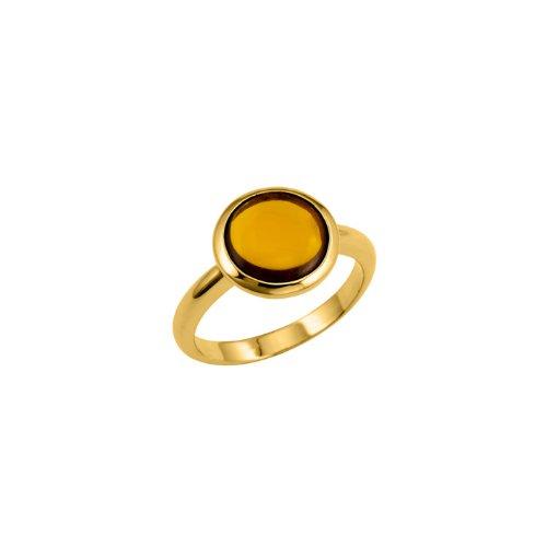 Bijoux pour tous - Anillo de bañado en oro con cristal, talla P