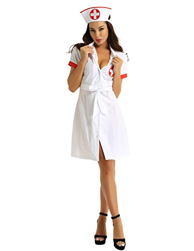 CHICTRY Krankenschwester Kostüm Damen Dessous Set Mini Kleid mit Hut und Gürtel Doktor Ärztin Cosplay Kostüme für Fasching Karneval Weiß X-Large