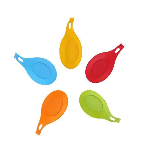 Jsdoin Juego de 5 cucharas de silicona para cocina, soporte flexible en forma de almendra de silicona para cocina, utensilios de cocina, soporte de cucharón de reposo de cucharón de colores vibrantes