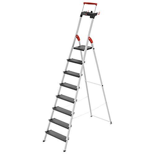 Hailo L100 TopLine Alu-Sicherheits-Stehleiter | 8 XXL-Stufen bis 150 kg | Stehleiter mit ausziehbarem Haltebügel, Plattformverriegelung | viel Zubehör | klappbare Aluleiter made in Germany | schwarz