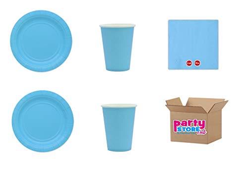 Lichtblauw, eenkleurig, van papier, voor party en party, serie Ecolor, recyclebaar en milieuvriendelijk, van cellulosefleece, 25 borden à 24 cm, 25 bekers, 50 servetten