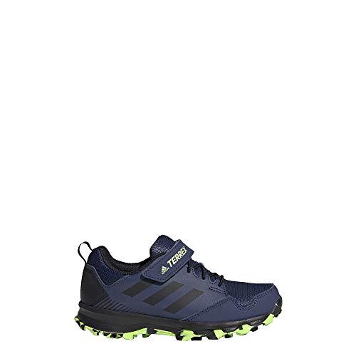 adidas outdoor Unisex-Kid's Terrex Tracerocker CF K Running Shoe, Tech Indigo/Black/Signal Green, 2 M US Little Kid