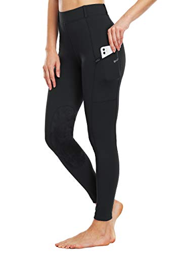 Willit Women's Riding Tights Knee-Patch Breeches Equestrian Horse Riding Pants Schooling Tights Zipper Pockets Black L