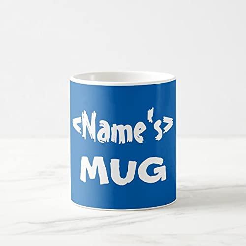 Yilooom Cute Cup Present, Taza de café personalizada con nombre azul, 11 oz