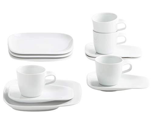 Kahla 15F254A90015C Elixyr Porzellan Frühstücksset für 4 Personen eckig Kaffeeservice Tassen Kleiner Teller 12-teilig weiß Kaffeeset modern Essgeschirr