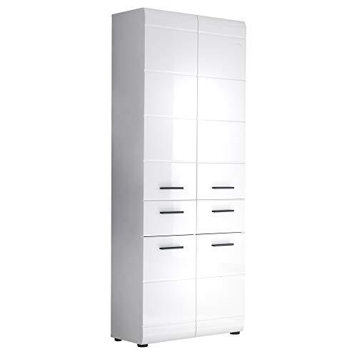 trendteam smart living Badezimmer Hochschank Schrank Skin, 60 x 182 x 31 cm in weiß Hochglanz mit viel Stauraum