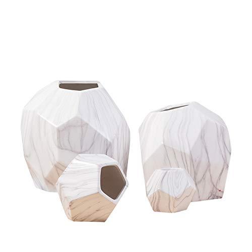 Fangoshop Vaso in Ceramica Artigianato Soggiorno Composizione Floreale Geometrica Decorazione in Marmo Daping Marmorizzazione