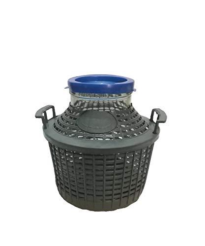 Generico Damigiana Litri 5 Bocca Larga con Cesto plastica