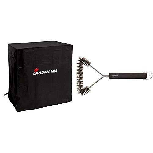 Landmann Quality - Wetterschutzhaube M, Aufbaum, Schwarz (Anthrazit), 85 x 100 x 50 cm & AmazonBasics - Grillbürste, dreieckig, 30,5cm