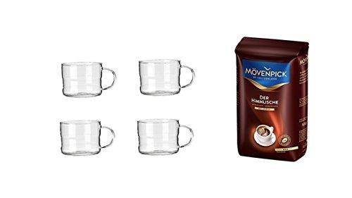 Mövenpick Kaffee Ganze Bohne 1 x 500 g Packung + 4 Espresso Gläser mit Henkel 100ml