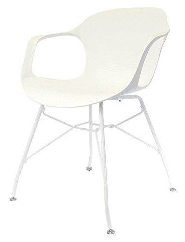 PEGANE Fauteuil en Fer Coloris Blanc - 54.5x55x75.5 cm