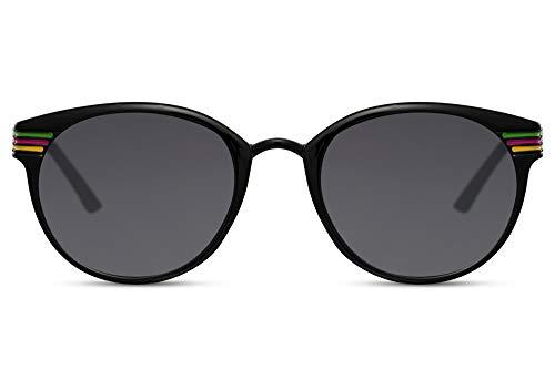 Cheapass Gafas de Sol Iconic Clásicas Redondas Retro Vintage Negras Estilo con Neón Fluor Rayas y Oscura Cristales UV400 protegidas Metálicas Corners para Hombres y Mujeres