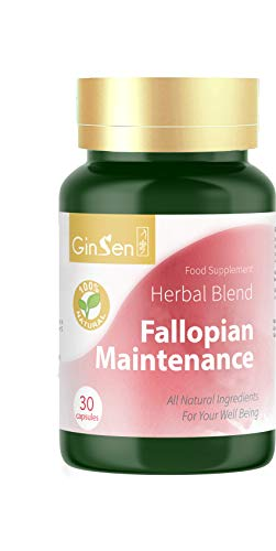 GinSen Fallopian Maintenance Supports Fallopian Health, Decrease Inflammation, Pre IVF Preparation, Natural Conceive, Remove Blockage, Natural Supplement Chinese Medicine, Made in UK (30 Capsules)