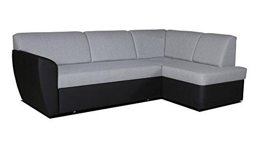 mb-moebel Ecksofa Sofa Eckcouch Couch mit Schlaffunktion und Bettkasten Ottomane L-Form Schlafsofa Polstergarnitur Margo (Ecksofa Rechts, Hellgrau)