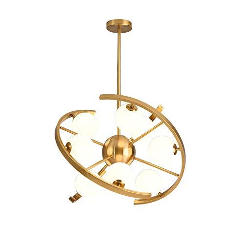Pendelleuchte Mit Lampenschirm Aus Glas, Satellitentechnik Mit 9 Köpfen Schmiedeeisen-Anhänger-Licht Und 3 Farben Dimmen, G9 Birne, Höhenverstellbare Hängeleuchte Fixture