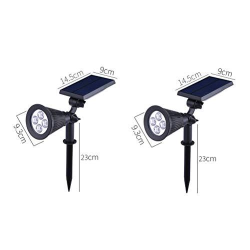 ZXH 4 LED zonne-schijnwerper voor buiten, waterdicht, veiligheid voor tuin, landschap, hoek van 180 ° verstelbaar, nacht/auto-off per dag voor boom, tuin, gazon, weg