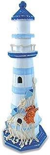 CoTa Global Light Blue Stripes Lighthouse w/ Crab & Fish Net Nautical Marine Decor..