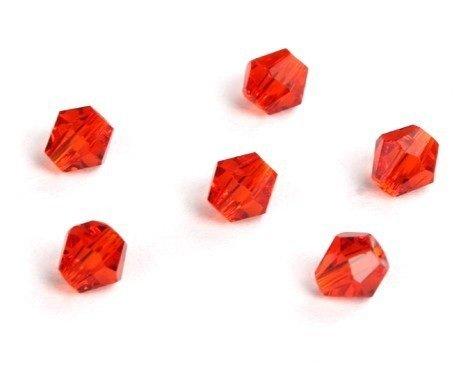 PANDORESECRETS Boemia zirconi Vetro trottola Beads–4mm–Rosso (Confezione da 100)