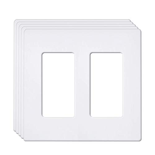 [5 Pack] BESTTEN 2-Gang Screwless Wall Plate, USWP6 Snow White Series, Decorator Outlet Cover, H4.69