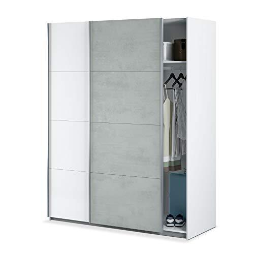 Habitdesign Armario Ropero, Dormitorio, Armario 2 Puertas correderas, Modelo Tekkan, Acabado en Blanco Artik y Gris Cemento, Medidas: 150 cm (Ancho) x 200 cm (Alto) x 60 cm (Fondo)