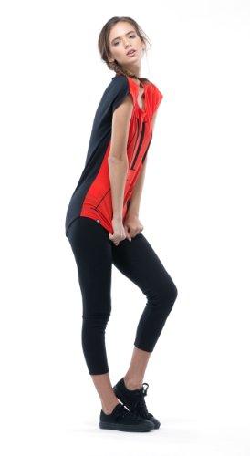 Mons Royale WMS Contrast Cap SLV T-Shirt en Maille mérinos pour Femme Large Rouge - Flame/Black