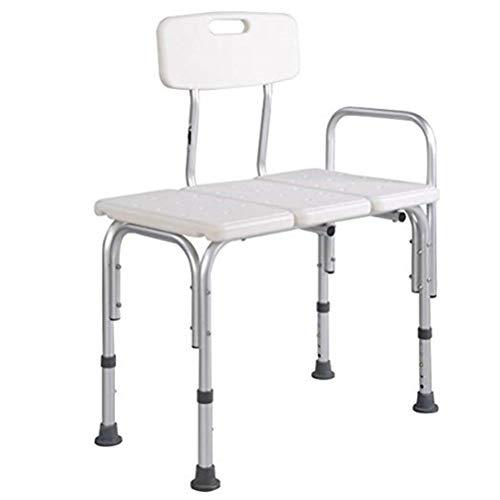 Yhtech Bañera de Transferencia de banco - Heavy Duty Baño y Ducha Banco transferencia - silla ajustable de la desventaja de ducha con respaldo reversible - Baño de Ayuda Médica for discapacitados, ter