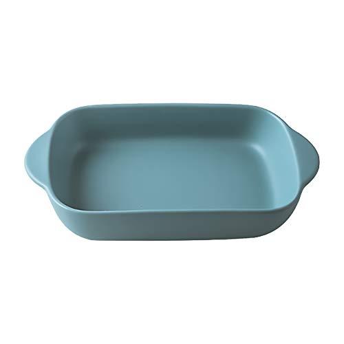 Green Small Ceramics Rectangular casseroledish Baking Dishes with Handle for Oven Ceramic Baking Pan Lasagna Casserole Pan Individual Bakeware 9x5 inch