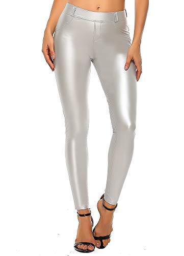 INSTINNCT Damen Kunstleder High Waist Leggings Skinny PU Leder Hose Leder-Optik Strumpfhosen Treggings Silber-1 S