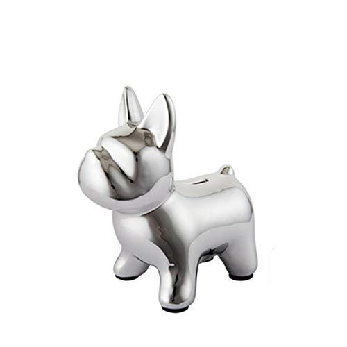 HUIHUAN Piggy Bank Personalidad Creativa Bulldog Moneda Piggy Bank Accesorios para el hogar Adornos de cerámica Niño Niña Bebé Niños Navidad Cumpleaños,Silver