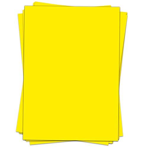 50 Blatt Briefpapier (A4) | einfarbig Gelb | Motivpapier | edles Design Papier | beidseitig bedruckt | Bastelpapier | 90 g/m²