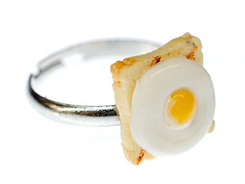 Miniblings Toast Spiegelei Ring Eier Sandwich Frühstück Toastbrot Essen Beige - Handmade Modeschmuck I Fingerring mit Motiv I verstellbar one Size