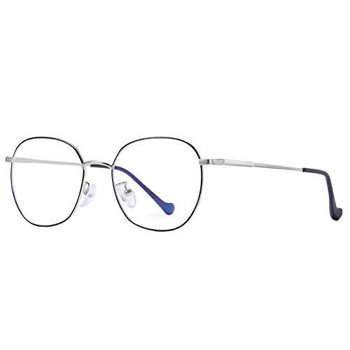 Cyni Spielbrille,Anti-Blu-Ray-Brille Runder Rahmen Literarischer Computerspiegel, Unisex-Schutzbrille Vollformat-Metallbrille,C2,1
