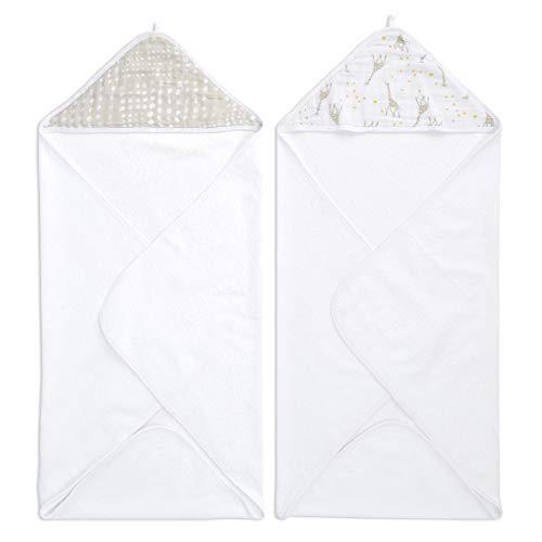 aden + anais Essentials Pack de 2 Capes de Bain à Capuche en Eponge Prélavée en Mousseline 100% Coton, pour Bébé Garçon/Fille, Imprimé Starry Star, 76 x 76 cm