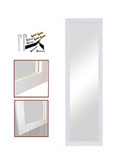 """ProDecor Quality Furniture Wood Frame Full Length Wall Mirror, Over The Door Mirror Wall Rectangular - Size 14"""" x 48"""" - with Installation Hardware and Instructions Included – White,"""